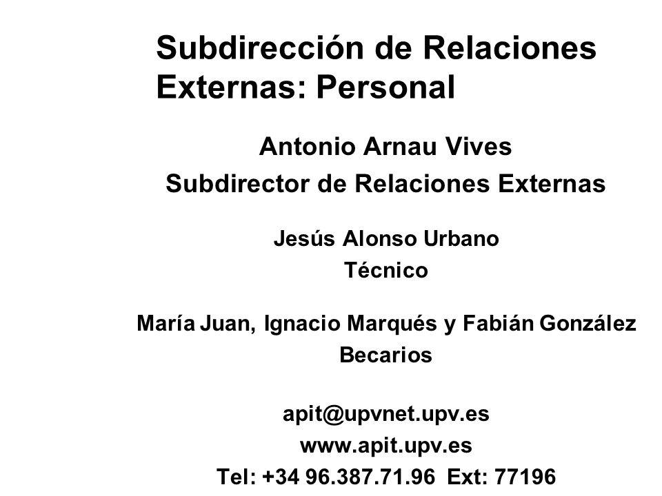 Subdirección de Relaciones Externas: Personal Antonio Arnau Vives Subdirector de Relaciones Externas Jesús Alonso Urbano Técnico María Juan, Ignacio M