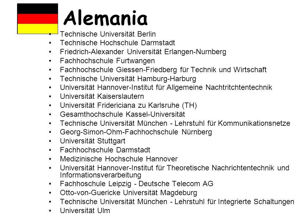 Alemania Technische Universität Berlin Technische Hochschule Darmstadt Friedrich-Alexander Universität Erlangen-Nurnberg Fachhochschule Furtwangen Fac