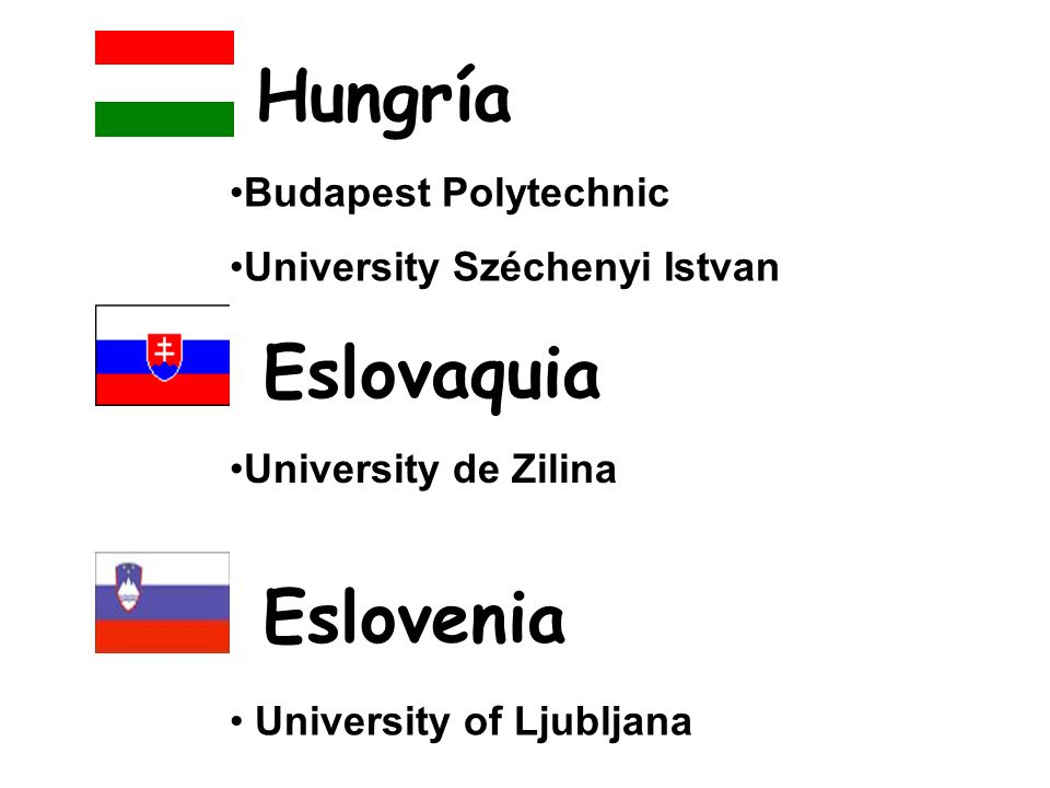 Budapest Polytechnic University Széchenyi Istvan Hungría University de Zilina Eslovaquia Eslovenia University of Ljubljana