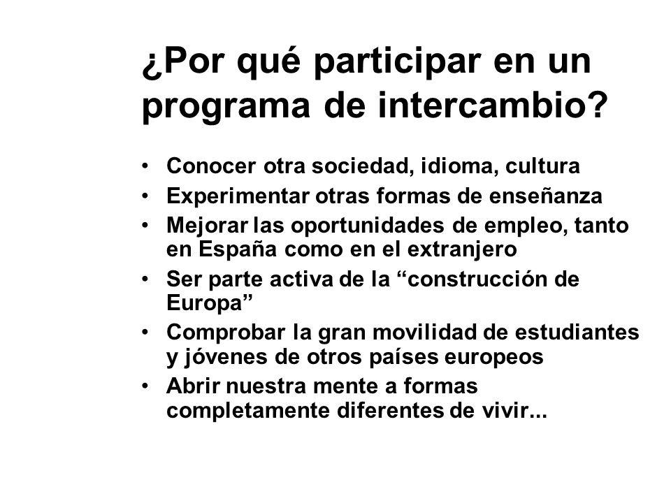 ¿Por qué participar en un programa de intercambio? Conocer otra sociedad, idioma, cultura Experimentar otras formas de enseñanza Mejorar las oportunid