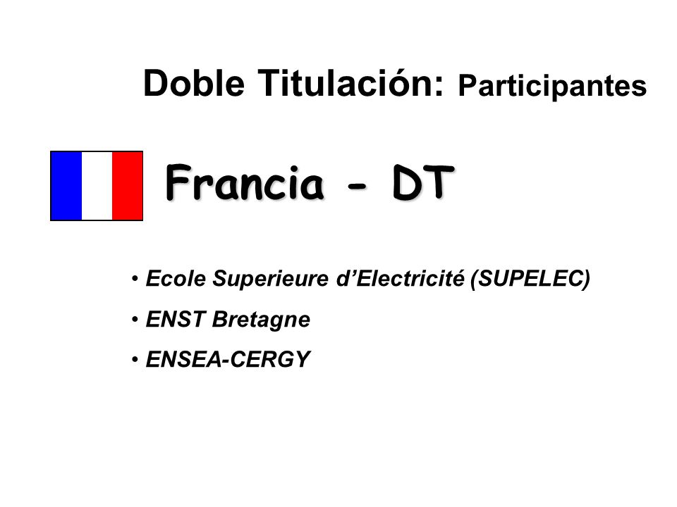 Doble Titulación: Participantes Ecole Superieure d'Electricité (SUPELEC) ENST Bretagne ENSEA-CERGY Francia - DT