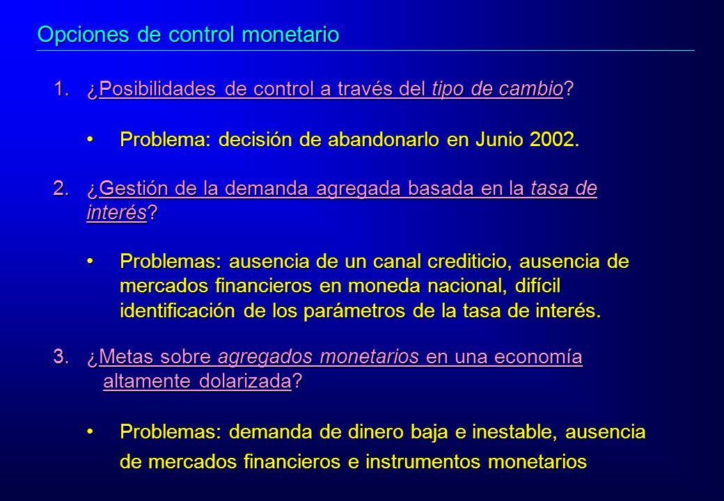 3.¿Metas sobre agregados monetarios en una economía altamente dolarizada? altamente dolarizada? Problemas: demanda de dinero baja e inestable, ausenci
