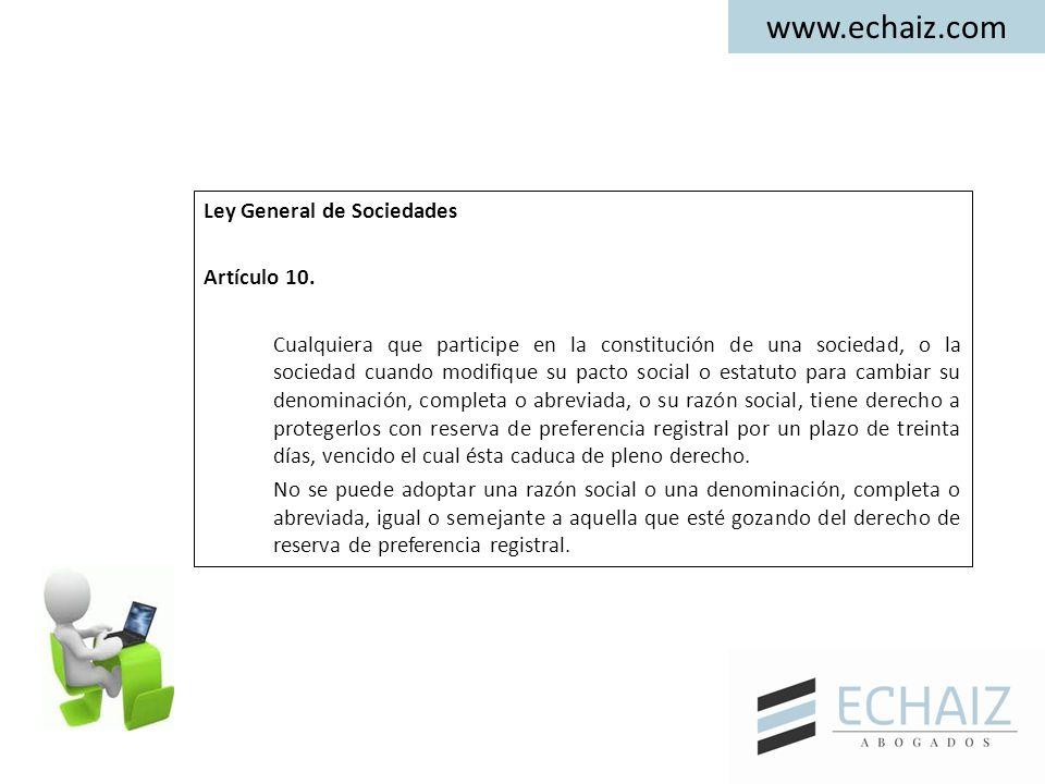 Ley General de Sociedades Artículo 10.