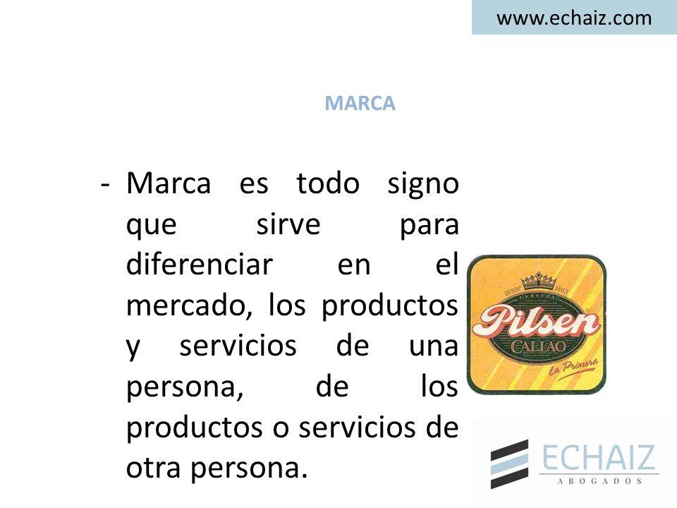MARCA -Marca es todo signo que sirve para diferenciar en el mercado, los productos y servicios de una persona, de los productos o servicios de otra pe