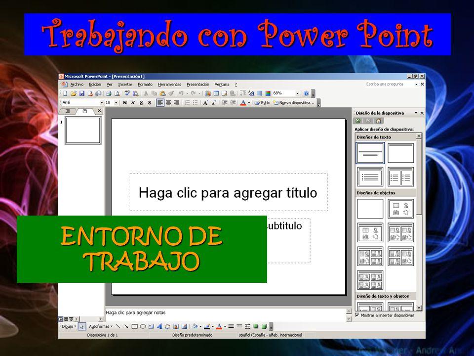 Trabajando con Power Point ENTORNO DE TRABAJO