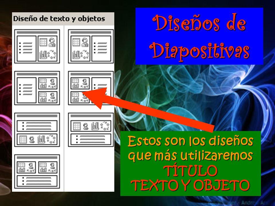 Diseños de Diapositivas Estos son los diseños que más utilizaremos TÍTULO TEXTO Y OBJETO