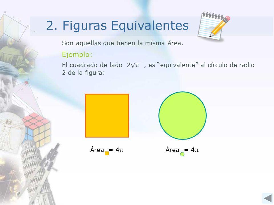 2. Figuras Equivalentes Son aquellas que tienen la misma área.