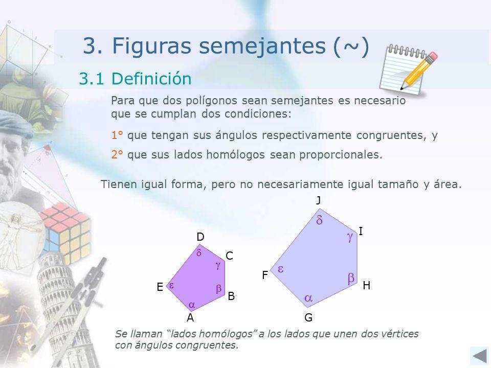 """3. Figuras semejantes (~) Para que dos polígonos sean semejantes es necesario que se cumplan dos condiciones: 3.1 Definición Se llaman """"lados homólogo"""