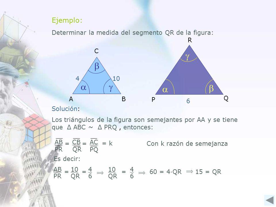 Ejemplo: Determinar la medida del segmento QR de la figura: AB C    410 Q R P    6 Solución: 10 QR 4 6 =60 = 4∙QR15 = QR Es decir: AB PR 10 QR 4 6 ==    Los triángulos de la figura son semejantes por AA y se tiene que Δ ABC ~ Δ PRQ, entonces: AB PR CB QR AC PQ = = = k Con k razón de semejanza