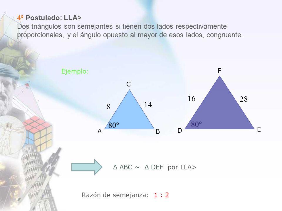 4º Postulado: LLA> Dos triángulos son semejantes si tienen dos lados respectivamente proporcionales, y el ángulo opuesto al mayor de esos lados, congruente.