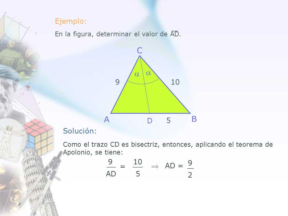 D 9 5 10   Solución: Como el trazo CD es bisectriz, entonces, aplicando el teorema de Apolonio, se tiene: 9 AD 10 5 =  AD = 9 2 Ejemplo: En la figura, determinar el valor de AD.