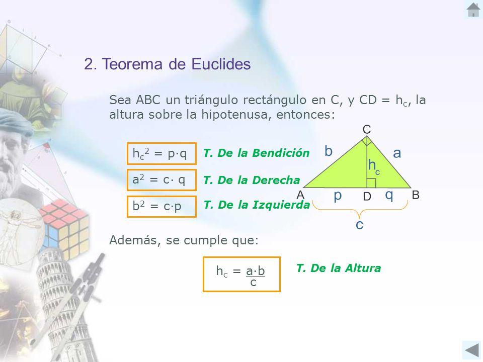 2. Teorema de Euclides Sea ABC un triángulo rectángulo en C, y CD = h c, la altura sobre la hipotenusa, entonces: Además, se cumple que: ∙ h c 2 = p q