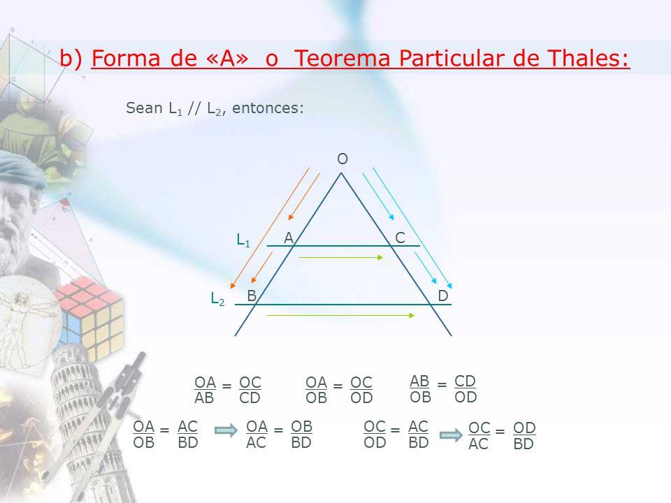 b) Forma de «A» o Teorema Particular de Thales: Sean L 1 // L 2, entonces: A O C DB L1L1 L2L2 OA AB OC CD = OA OB OC OD = OA AC OB BD = OC AC OD BD = AB OB CD OD = OA OB AC BD = OC OD AC BD =