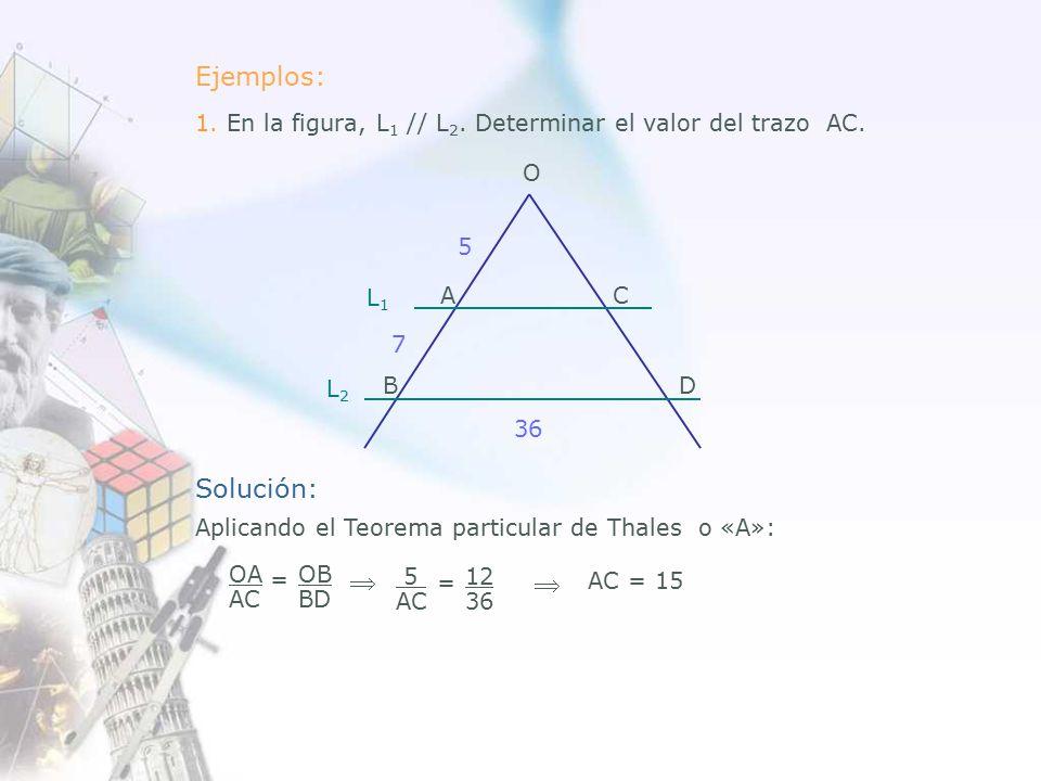 Ejemplos: 1. En la figura, L 1 // L 2. Determinar el valor del trazo AC.