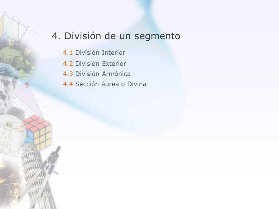 4.1 División Interior 4.2 División Exterior 4.3 División Armónica 4.