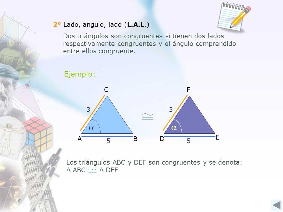 2° Lado, ángulo, lado (L.A.L.) Dos triángulos son congruentes si tienen dos lados respectivamente congruentes y el ángulo comprendido entre ellos congruente.