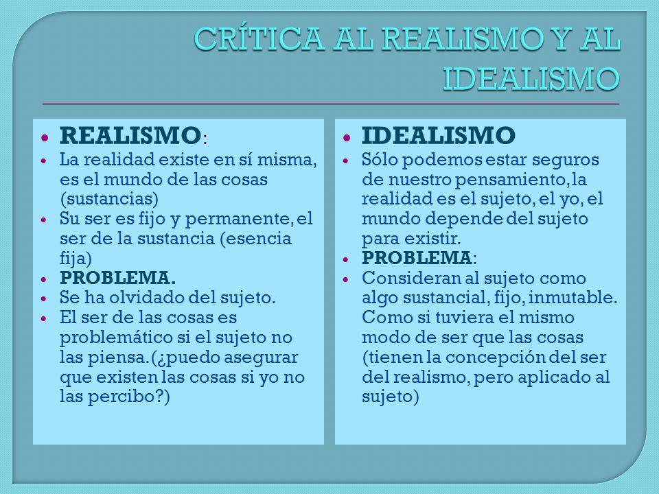 REALISMO : La realidad existe en sí misma, es el mundo de las cosas (sustancias) Su ser es fijo y permanente, el ser de la sustancia (esencia fija) PR