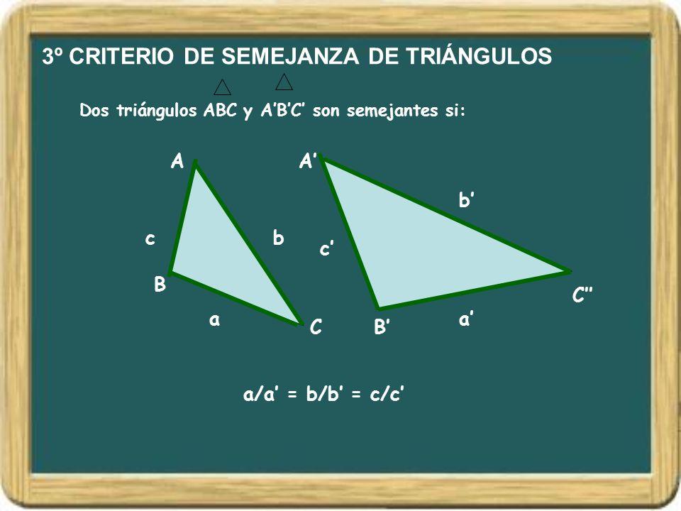 3º CRITERIO DE SEMEJANZA DE TRIÁNGULOS Dos triángulos ABC y A'B'C' son semejantes si: A B C A' B' C'' bc b' c' a/a' = b/b' = c/c' a'a