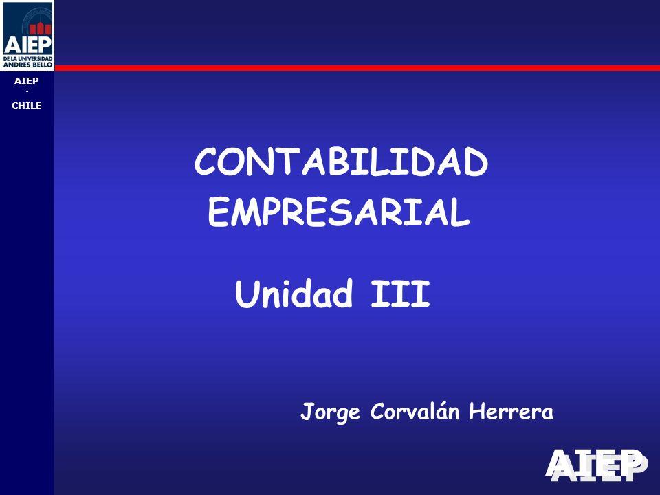 AIEP - CHILE CONTABILIDAD EMPRESARIAL Jorge Corvalán Herrera Unidad III