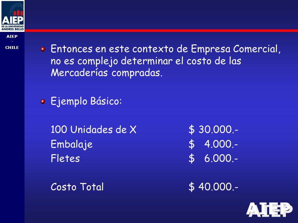 AIEP - CHILE Entonces en este contexto de Empresa Comercial, no es complejo determinar el costo de las Mercaderías compradas.