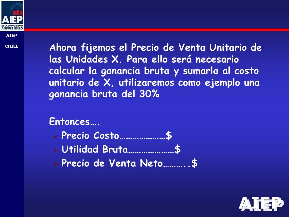 AIEP - CHILE Ahora fijemos el Precio de Venta Unitario de las Unidades X.