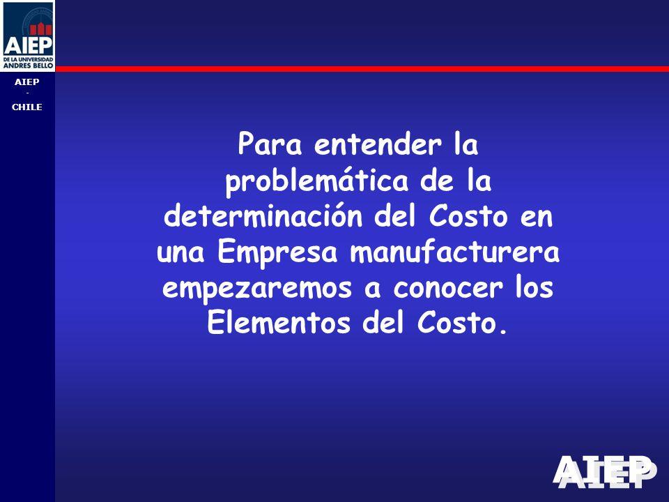 AIEP - CHILE Para entender la problemática de la determinación del Costo en una Empresa manufacturera empezaremos a conocer los Elementos del Costo.