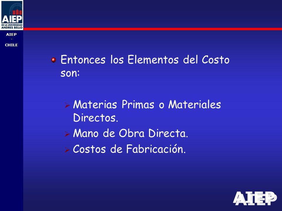 AIEP - CHILE Entonces los Elementos del Costo son:  Materias Primas o Materiales Directos.
