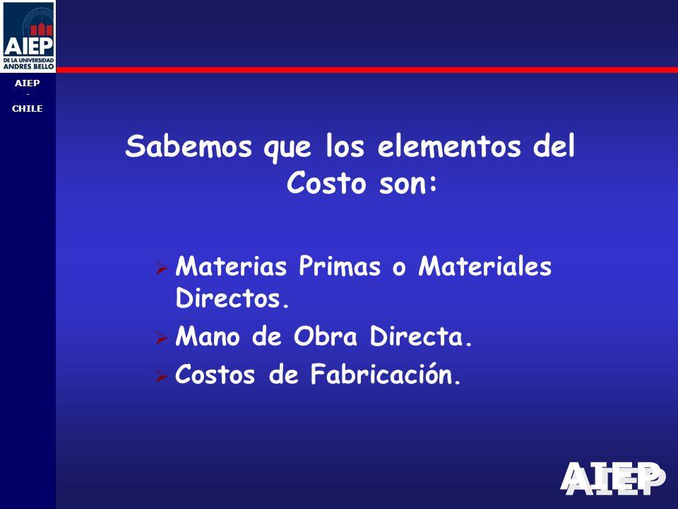 AIEP - CHILE Sabemos que los elementos del Costo son:  Materias Primas o Materiales Directos.