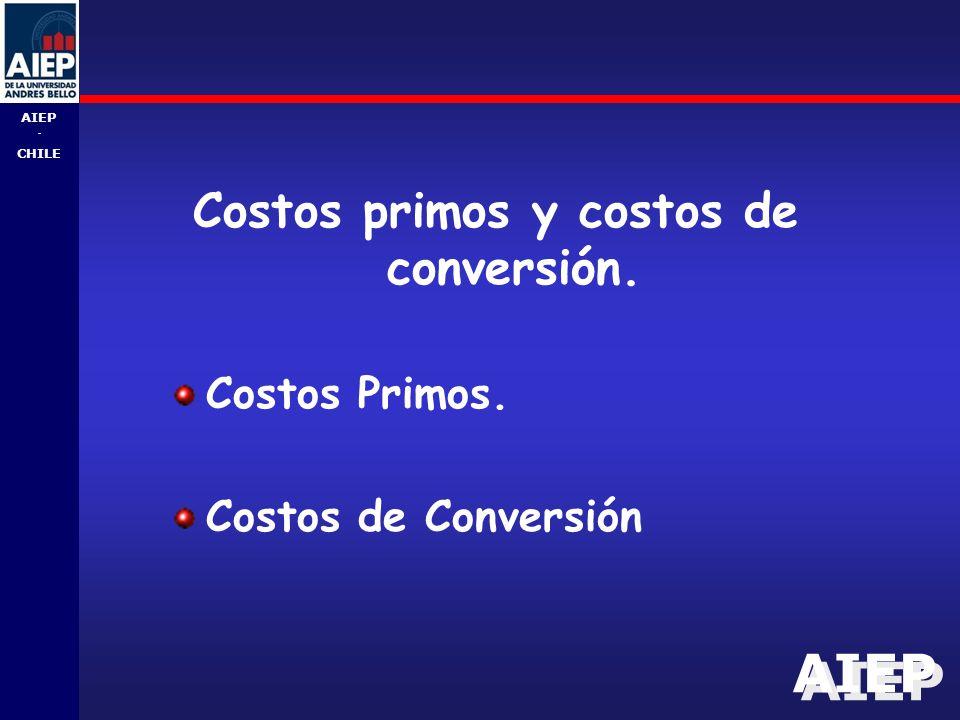 AIEP - CHILE Costos primos y costos de conversión. Costos Primos. Costos de Conversión
