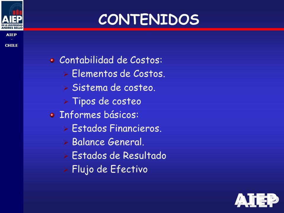 AIEP - CHILE CONTENIDOS Contabilidad de Costos:  Elementos de Costos.
