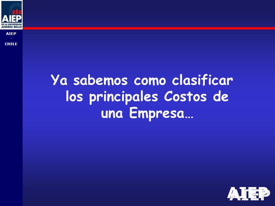 AIEP - CHILE Ya sabemos como clasificar los principales Costos de una Empresa…