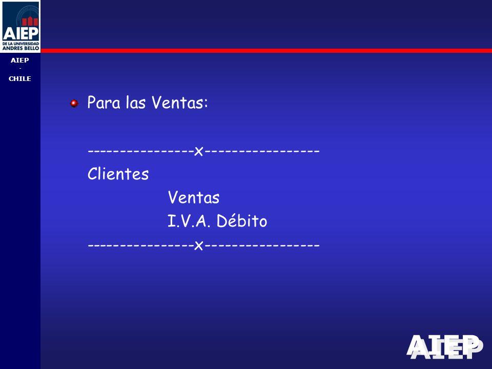 AIEP - CHILE Para las Ventas: ----------------x----------------- Clientes Ventas I.V.A.