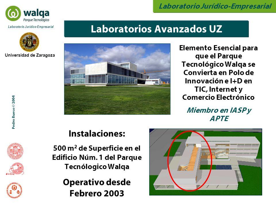 Laboratorio Jurídico-Empresarial Universidad de Zaragoza Laboratorio Jurídico-Empresarial Pedro Bueso © 2004 Laboratorios Avanzados UZ Instalaciones: 500 m 2 de Superficie en el Edificio Núm.