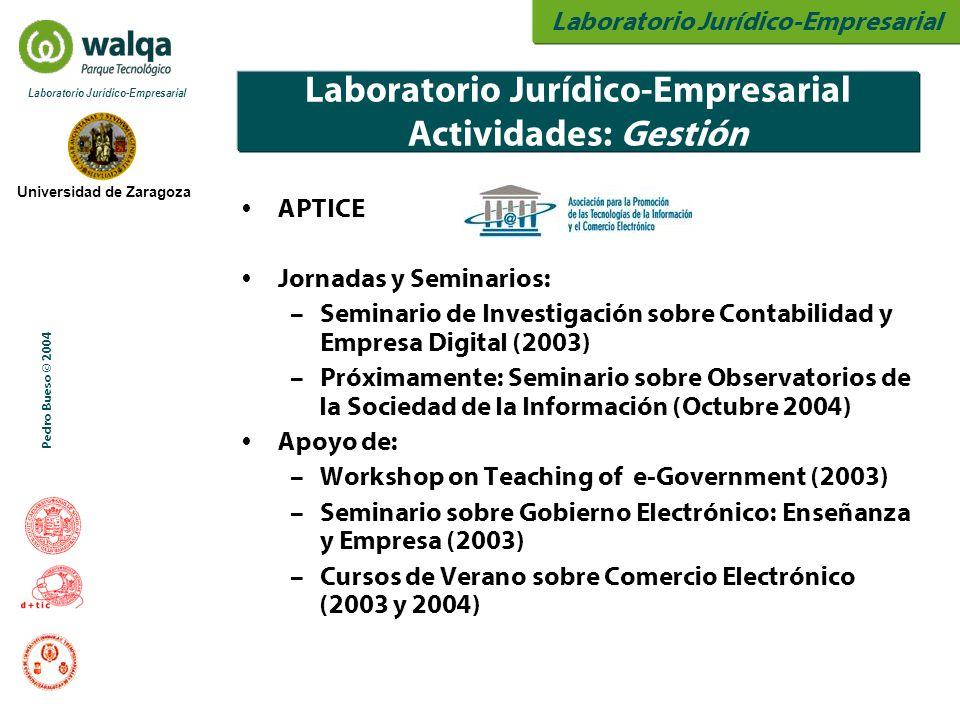 Laboratorio Jurídico-Empresarial Universidad de Zaragoza Laboratorio Jurídico-Empresarial Pedro Bueso © 2004 Laboratorio Jurídico-Empresarial Activida