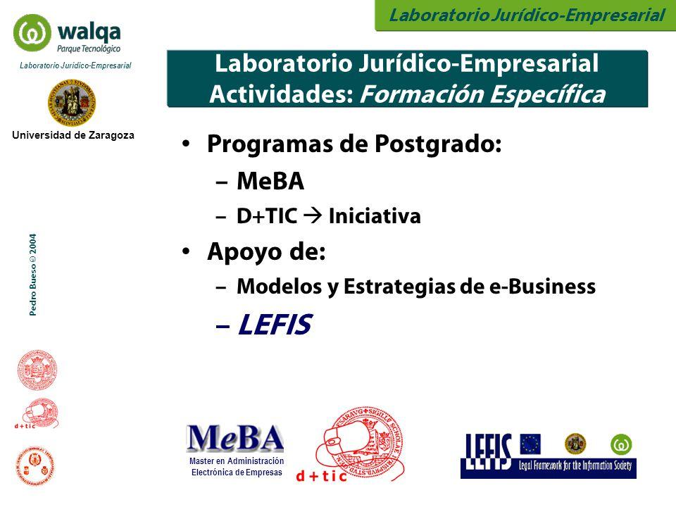 Laboratorio Jurídico-Empresarial Universidad de Zaragoza Laboratorio Jurídico-Empresarial Pedro Bueso © 2004 Laboratorio Jurídico-Empresarial Actividades: Formación Específica Programas de Postgrado: – MeBA – D+TIC  Iniciativa Apoyo de: – Modelos y Estrategias de e-Business – LEFIS Master en Administración Electrónica de Empresas