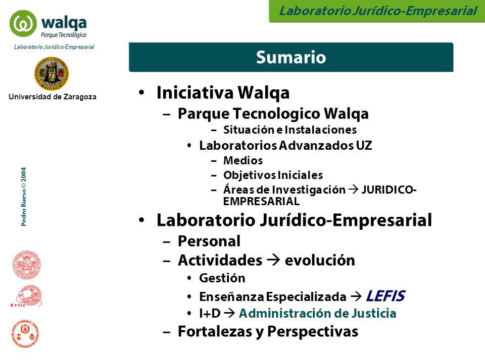 Laboratorio Jurídico-Empresarial Universidad de Zaragoza Laboratorio Jurídico-Empresarial Pedro Bueso © 2004 Iniciativa Walqa – Parque Tecnologico Walqa – Situación e Instalaciones Laboratorios Advanzados UZ – Medios – Objetivos Iniciales – Áreas de Investigación  JURIDICO- EMPRESARIAL Laboratorio Jurídico-Empresarial – Personal – Actividades  evolución Gestión Enseñanza Especializada  LEFIS I+D  Administración de Justicia – Fortalezas y Perspectivas Sumario