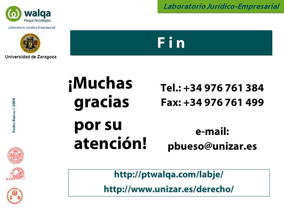 Laboratorio Jurídico-Empresarial Universidad de Zaragoza Laboratorio Jurídico-Empresarial Pedro Bueso © 2004 ¡Muchas gracias por su atención! Tel.: +3