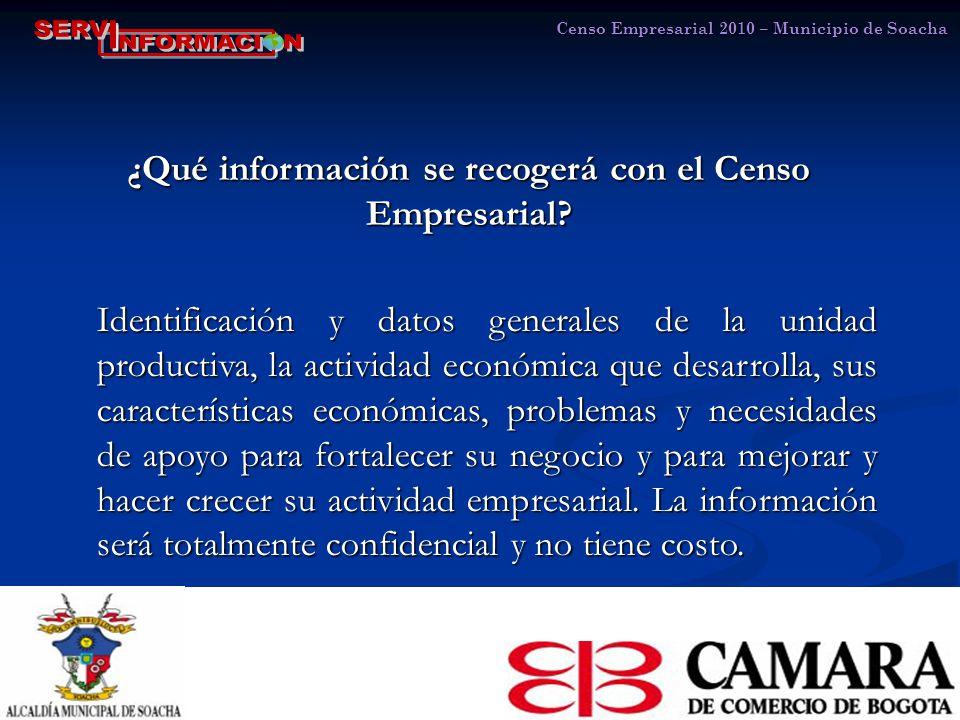 Censo Empresarial 2010 – Municipio de Soacha ¿Qué información se recogerá con el Censo Empresarial.