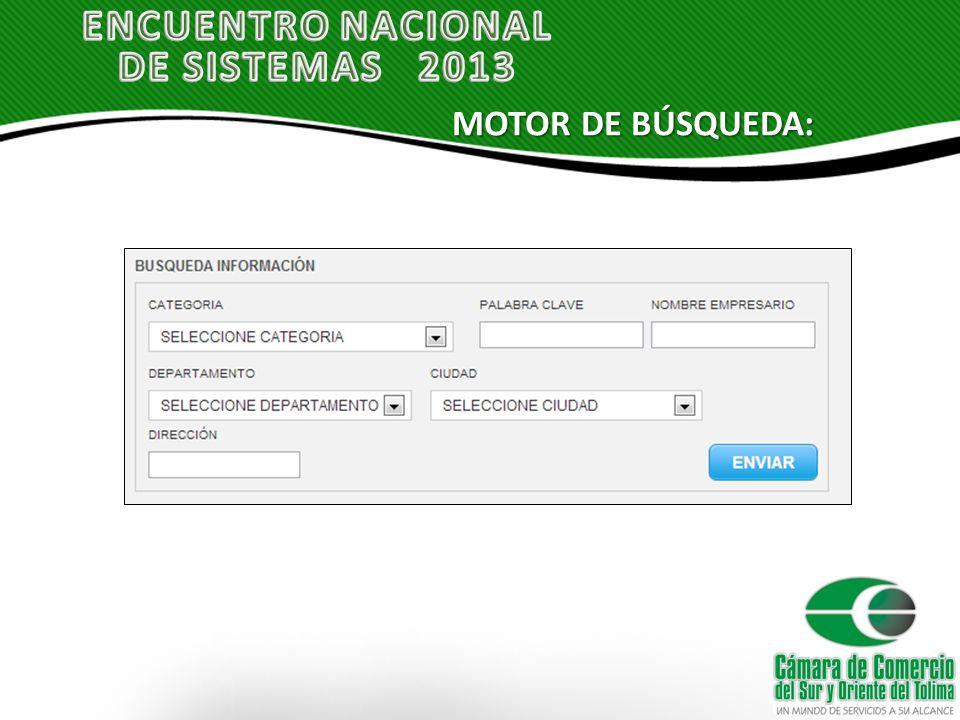 MOTOR DE BÚSQUEDA: