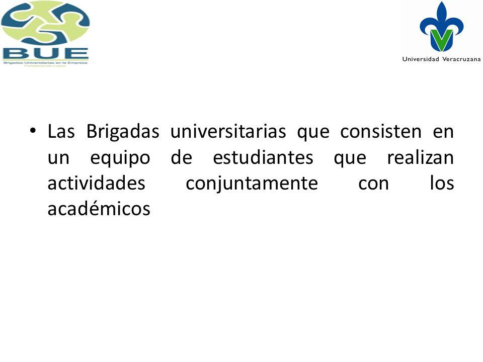 Las Brigadas universitarias que consisten en un equipo de estudiantes que realizan actividades conjuntamente con los académicos