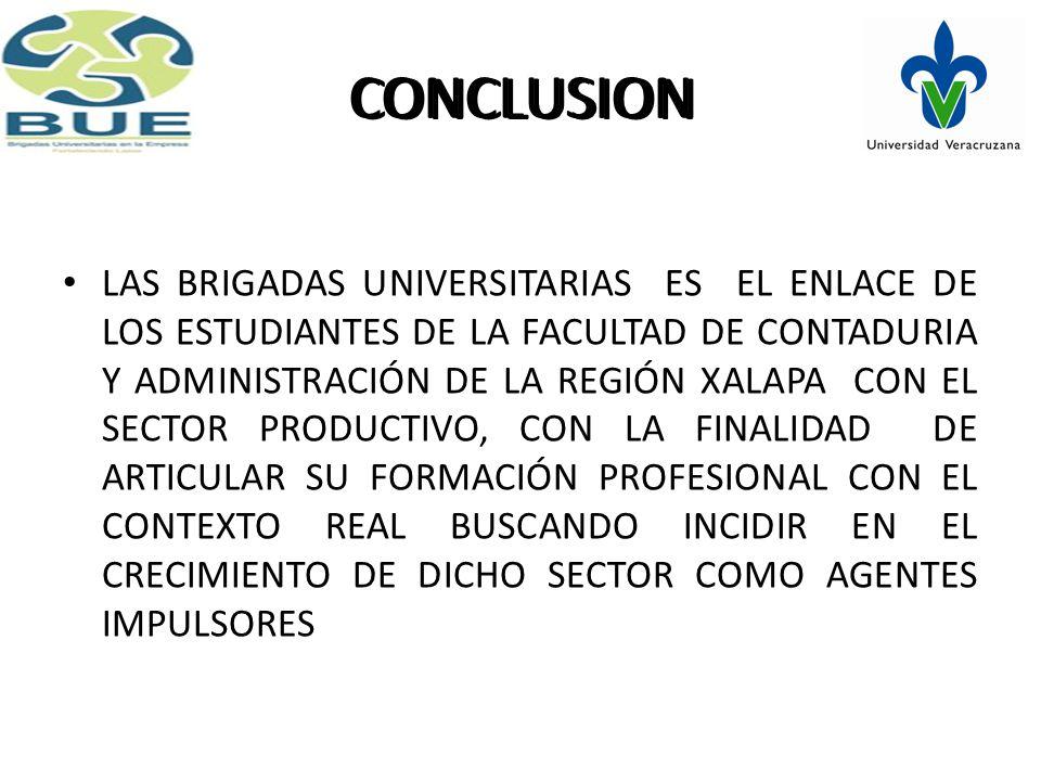 CONCLUSION LAS BRIGADAS UNIVERSITARIAS ES EL ENLACE DE LOS ESTUDIANTES DE LA FACULTAD DE CONTADURIA Y ADMINISTRACIÓN DE LA REGIÓN XALAPA CON EL SECTOR PRODUCTIVO, CON LA FINALIDAD DE ARTICULAR SU FORMACIÓN PROFESIONAL CON EL CONTEXTO REAL BUSCANDO INCIDIR EN EL CRECIMIENTO DE DICHO SECTOR COMO AGENTES IMPULSORES CONCLUSION