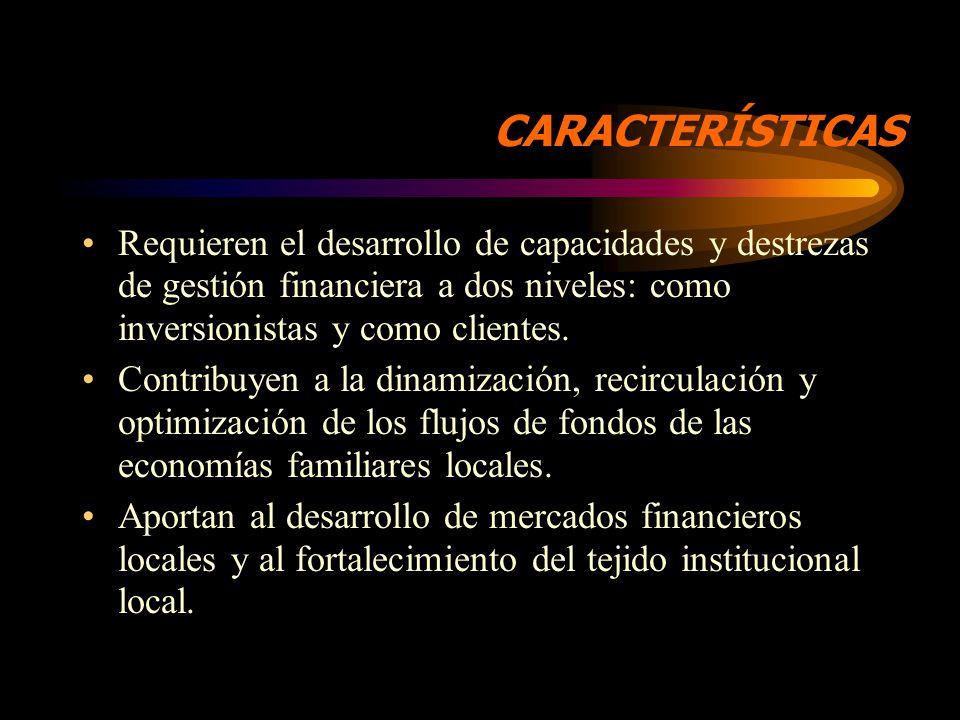 CARACTERÍSTICAS Son organizaciones autónomas de tipo empresarial, formadas con aportes de capital de personas de la localidad, como socias.