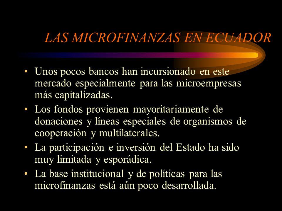 La ME en el Ecuador Los sujetos centrales de atención de las microfinanzas son las actividades económicas de pequeña escala, urbanas y rurales, y las personas y familias que generan sus ingresos a partir de estas actividades.
