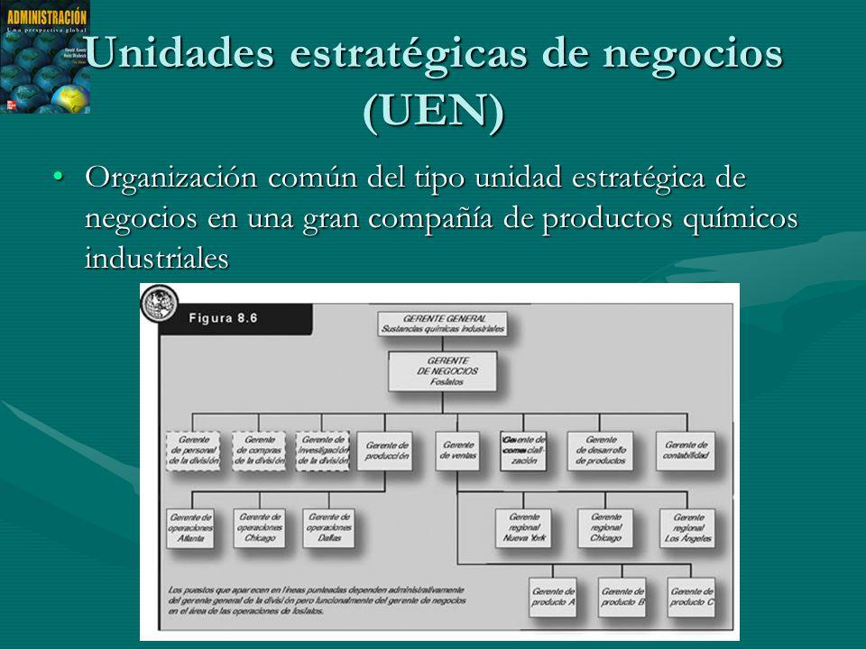 Unidades estratégicas de negocios (UEN) Organización común del tipo unidad estratégica de negocios en una gran compañía de productos químicos industrialesOrganización común del tipo unidad estratégica de negocios en una gran compañía de productos químicos industriales