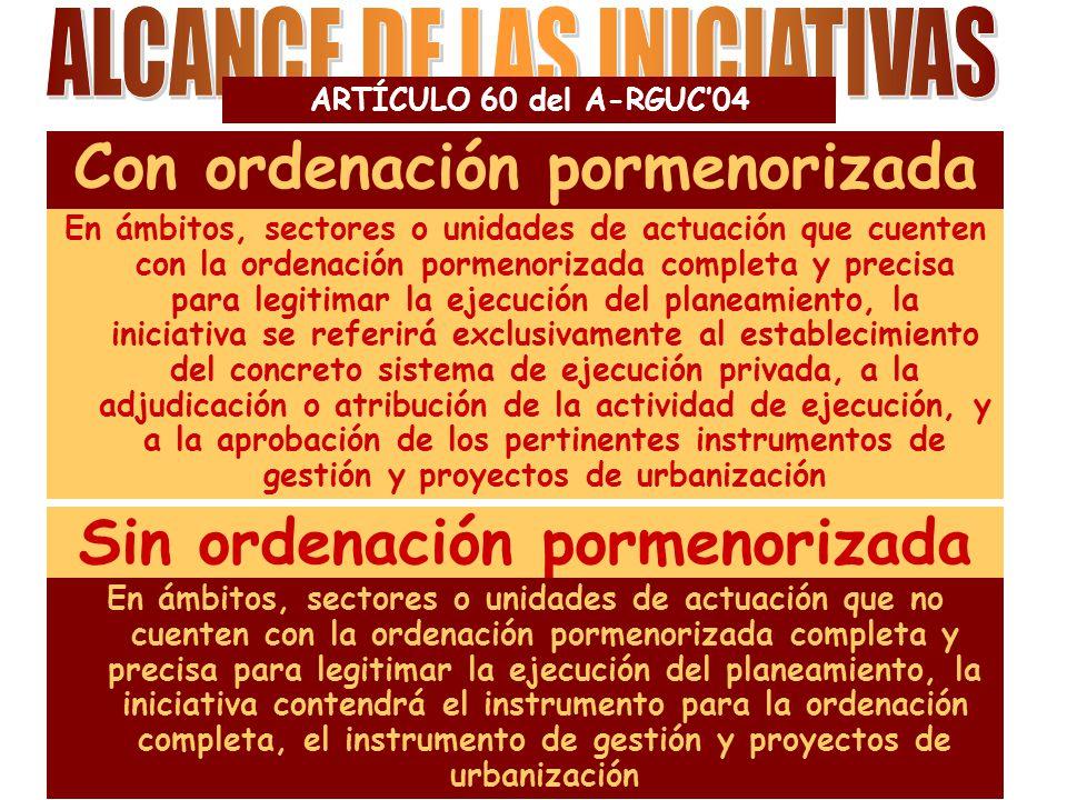 ARTÍCULO 62 del A-RGUC'04 Las iniciativas para establecer el sistema de concierto sólo podrán ser formuladas por el propietario único de los terrenos o por la totalidad de los propietarios del ámbito, sector o unidad de actuación.
