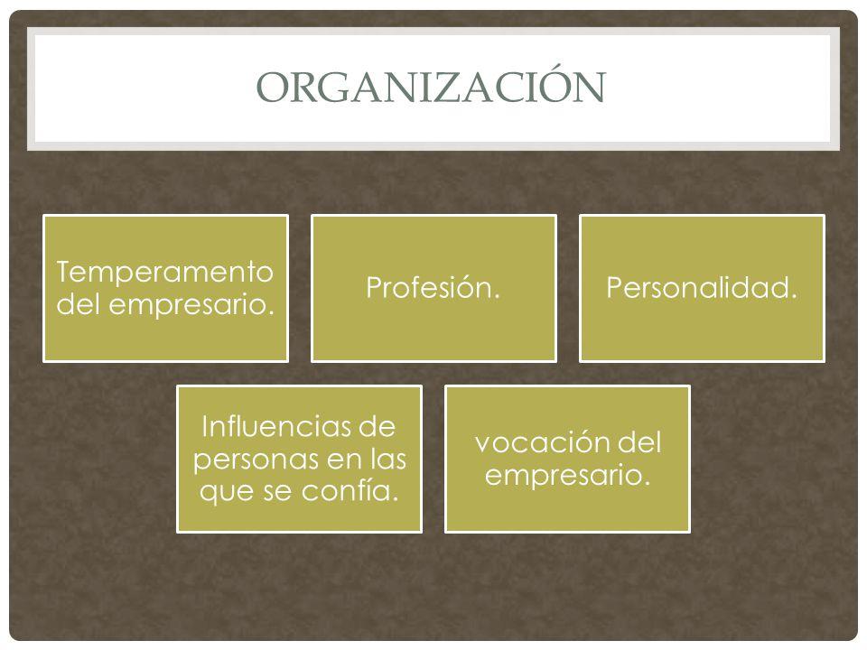 ORGANIZACIÓN Temperamento del empresario. Profesión.Personalidad.