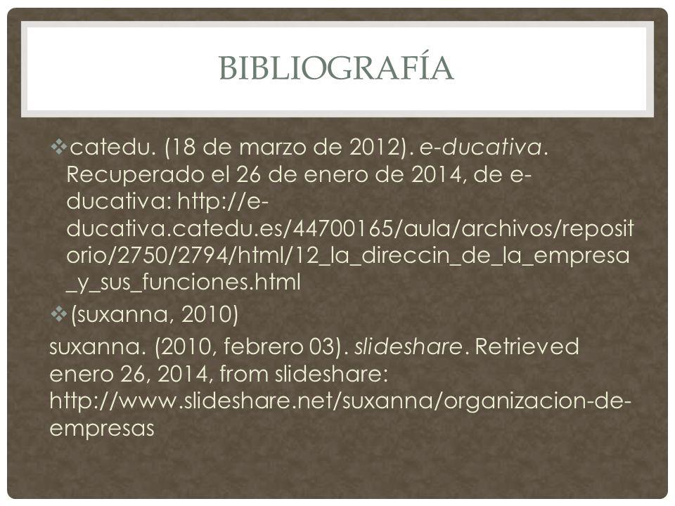 BIBLIOGRAFÍA  catedu. (18 de marzo de 2012). e-ducativa.