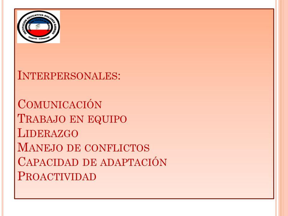 I NTERPERSONALES : C OMUNICACIÓN T RABAJO EN EQUIPO L IDERAZGO M ANEJO DE CONFLICTOS C APACIDAD DE ADAPTACIÓN P ROACTIVIDAD