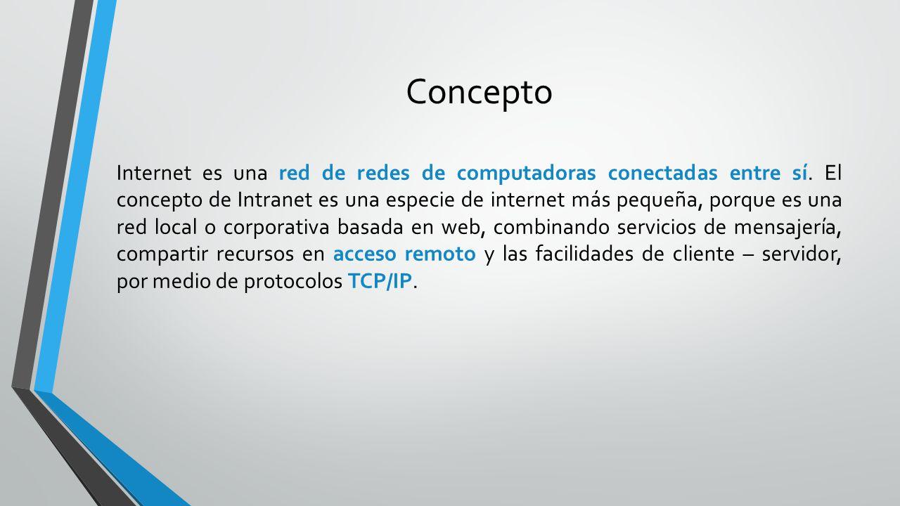 Concepto Internet es una red de redes de computadoras conectadas entre sí. El concepto de Intranet es una especie de internet más pequeña, porque es u