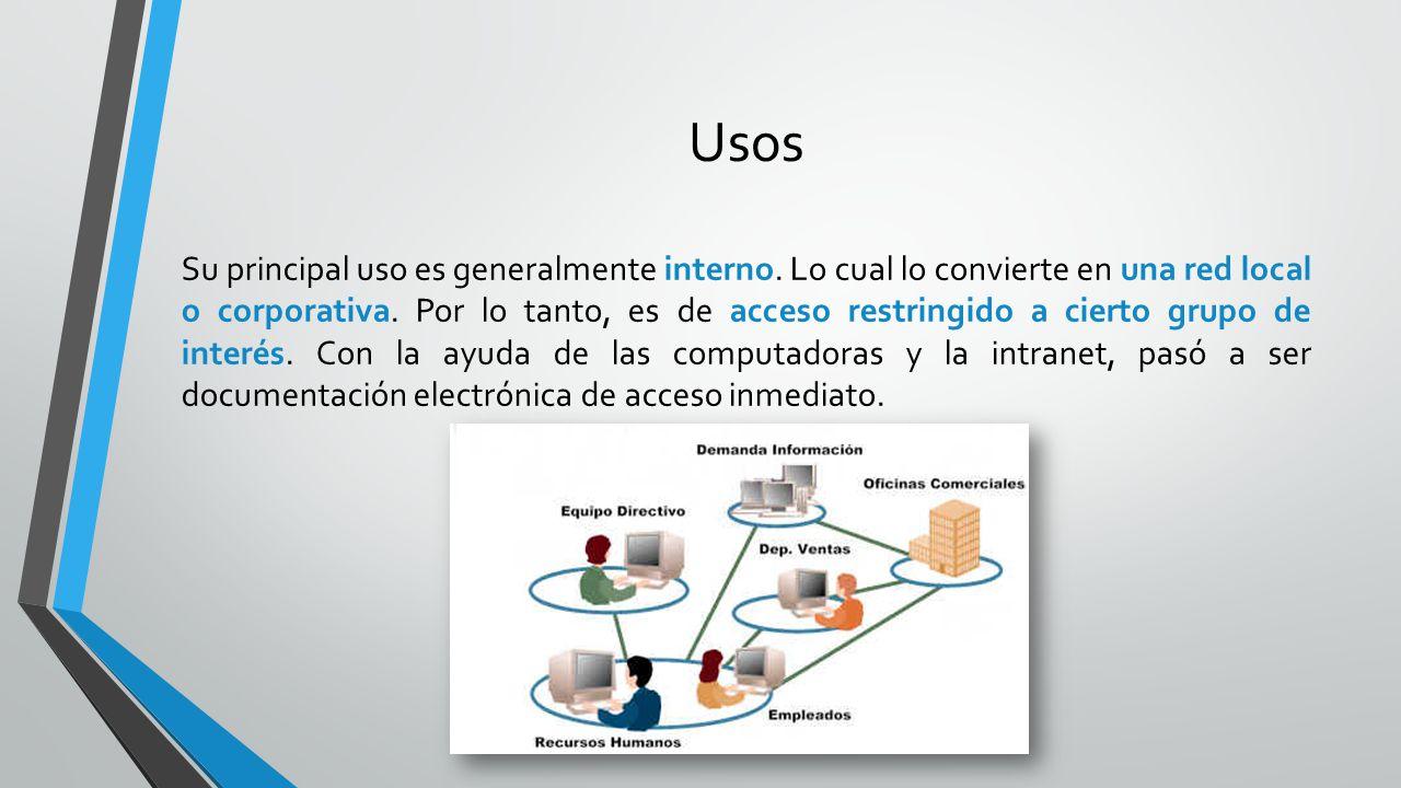 Usos Su principal uso es generalmente interno. Lo cual lo convierte en una red local o corporativa. Por lo tanto, es de acceso restringido a cierto gr